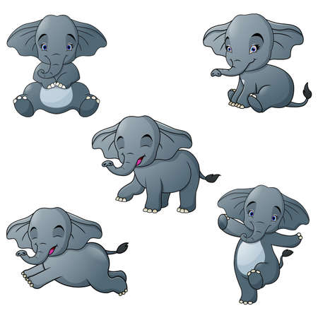 Set of elephant cartoon character isolated on white background