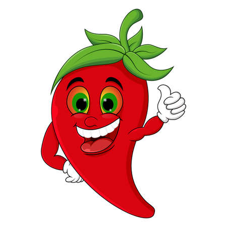 Chili Cartoon Character Giving thumbs up Illustration