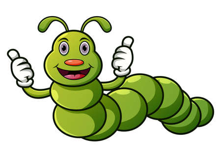Cartoon caterpillar with thumbs up