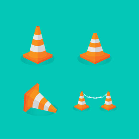 Set of orange plastic traffic cones icon
