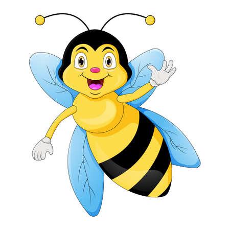 Cute bee cartoon waving hand Vektorové ilustrace