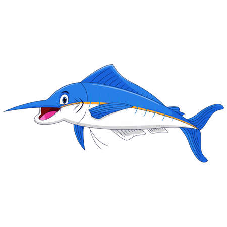 Marlin fish cartoon on white background