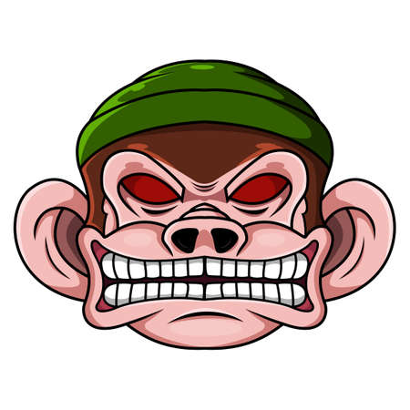 Monkey head mascot logo design