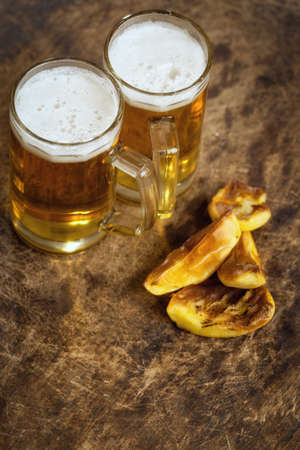 beers: Cold beers with potato chips