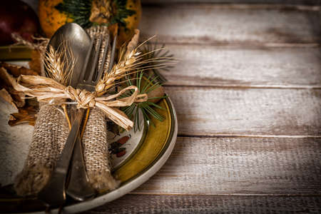 decoracion mesas: ajuste de la tabla del otoño Foto de archivo