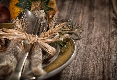 food table: Autumn table setting