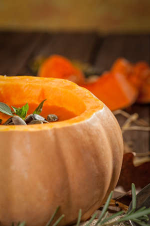 pumpkin soup: Pumpkin soup on wooden table