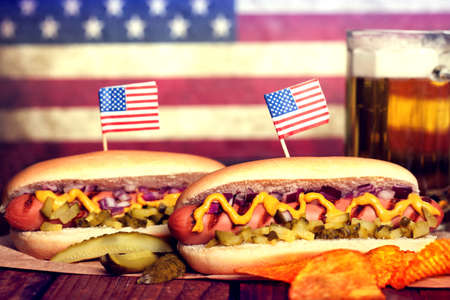 hot dog: 4th of July Picnic Table - Hot Dogs Stock Photo