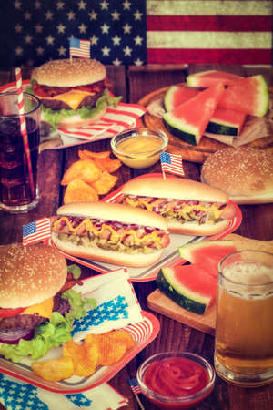 hot drink: 4th of July Picnic Table