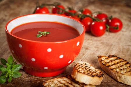 トマトのガスパチョ スープ 写真素材