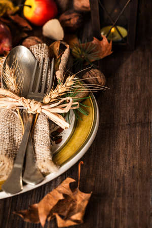 background settings: Autumn Table setting Stock Photo