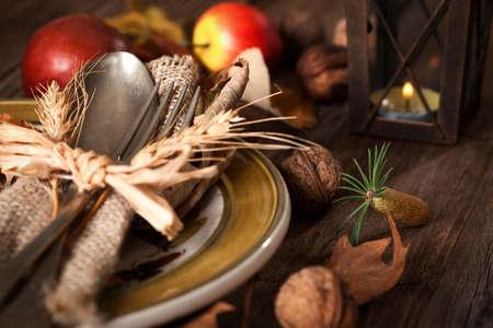 rustic table: Autumn Table setting Stock Photo