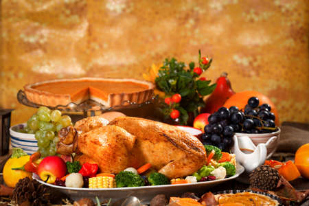 feasts: Traditional Thanksgiving Dinner Stock Photo