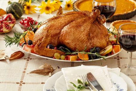 추수 감사절 로스트 터키 저녁 식사 스톡 콘텐츠