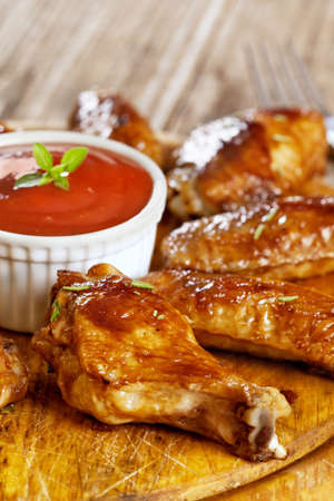 finger food: BBQ Chicken Wings with bbq sauce