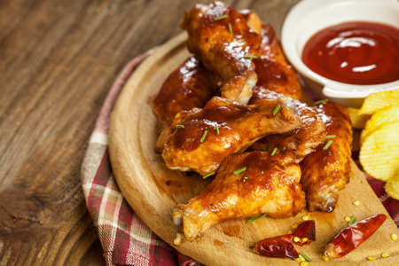 and chicken wings: BBQ Buffalo chicken wings