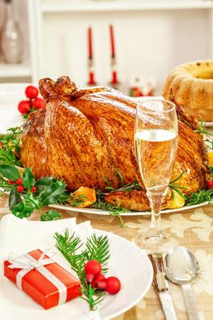 feestelijk: Kerstdiner tabel Stockfoto