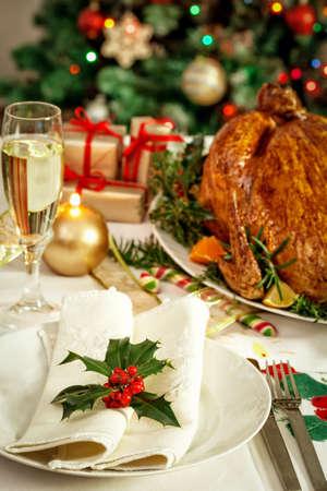 Christmas turkey dinner table