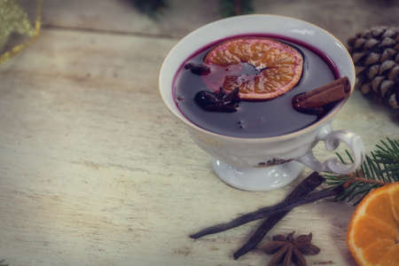 mulled wine spice: Christmas mulled wine or gluhwein with spices and orange slice