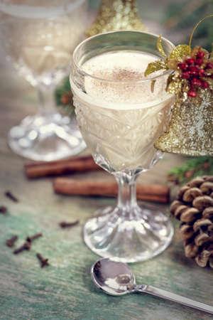 eggnog: eggnog cocktail for Christmas Stock Photo