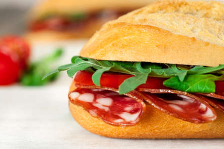 pepperoni: Baguette Sandwich with pepperoni Stock Photo