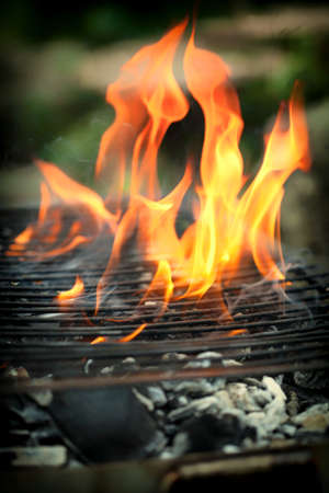 flames background: burning grill, outdoors ,fire flame Stock Photo