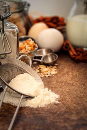 rustic kitchen: Baking chocolate cake - recipe ingredients