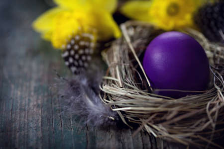 copy space: Colorful Easter eggs in the nest on the old wooden background