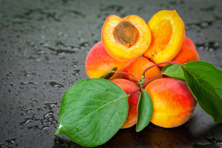copy  space: Organic fresh apricot with copy space