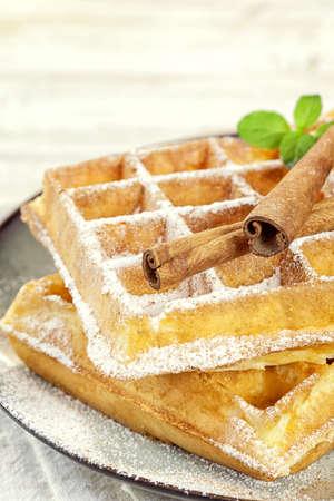 cinnamon sticks: Waffles with sugar and Cinnamon sticks Stock Photo
