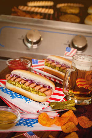 picnic table: 4th of July Picnic Table - Hot Dogs Stock Photo