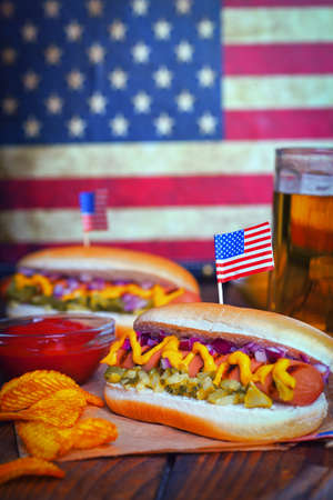 picnic table: 4th of July Holiday Picnic Table - Hot Dogs