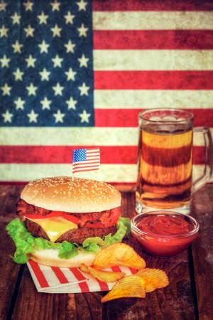 picnic table: 4th of July Holiday Picnic Table - Hamburger