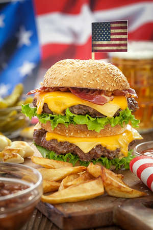 cheeseburgers: American 4th of July Double Cheeseburgers Stock Photo