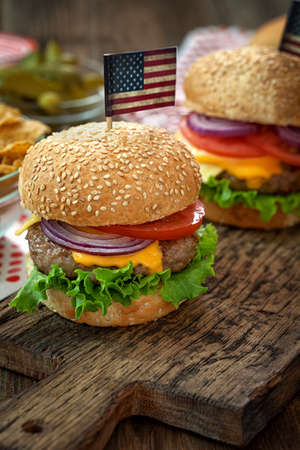 cheeseburgers: American 4th of July Cheeseburgers with copy space
