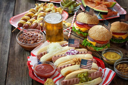 picnic table: American holiday 4th of July - Picnic Table