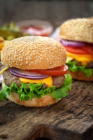 cheeseburgers: Cheeseburgers with copy space