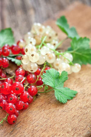 red currant: ripe red currant on wooden background with copy space