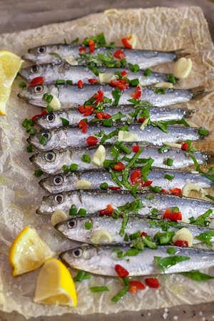sardinas: sardinas frescas en el papel de horno