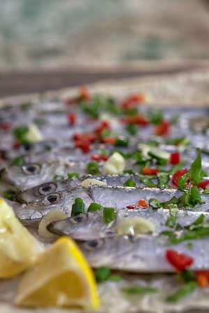 sardinas: sardinas frescas se cierran para arriba