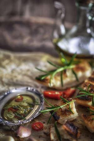 ciabatta: Ciabatta bread with olive oil and rosemary