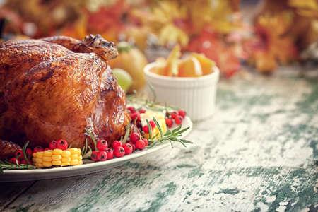 コピー スペース感謝祭の七面鳥料理 写真素材