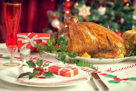 Christmas decoration table setting - turkey dinner