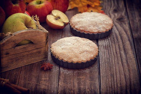 apple tart: Apple tart with cinnamon and copy space Stock Photo