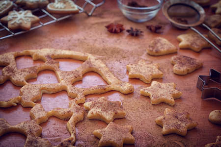 Preparation gingerbread cookie with cinnamon for Christmas