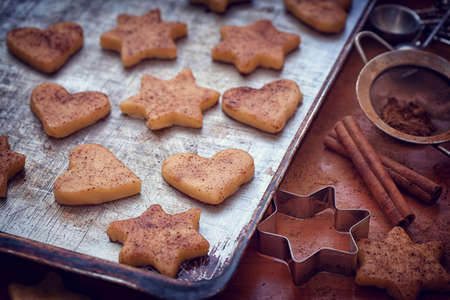gingerbread cookie: Preparation gingerbread cookie with cinnamon for Christmas