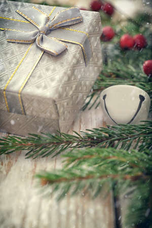 Christmas background with decorations and gift boxes Reklamní fotografie