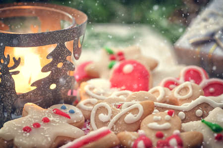 Christmas gingerbread cookies decoration with copy space