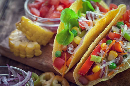 Mexican corn tortilla tacos with vegetables Reklamní fotografie