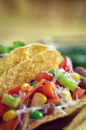 Mexican corn tortilla tacos with vegetables Stock Photo